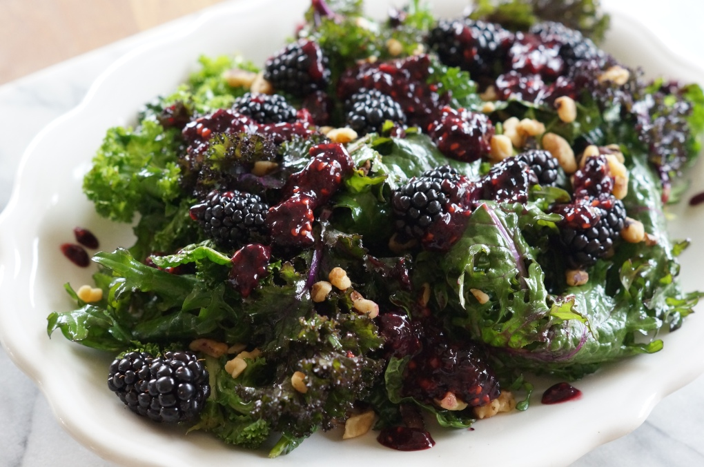 Kale Salad with Mint, walnuts, and blackberries