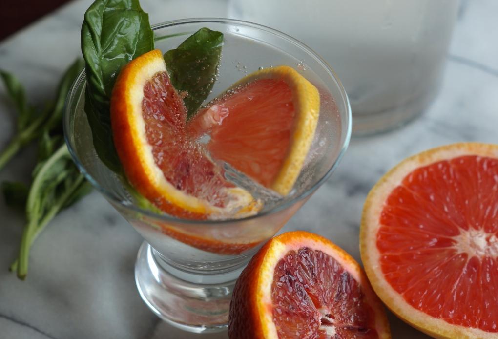 Grapefruit, blood orange, and basil water