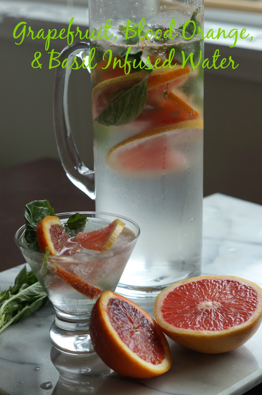 Grapefruit, Blood Orange, and Basil Infused Water
