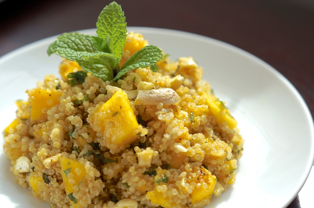 Quinoa salad with mint, cashews, mango & curry vinaigrette | The ...