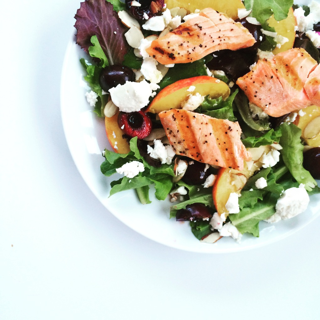 Salmon with goat cheese, cherries, and peaches